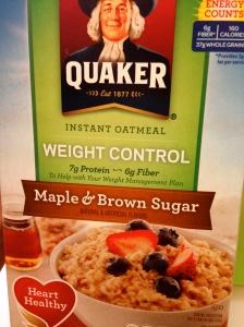Healthified Quaker instant Maple & Brown Sugar Oatmeal